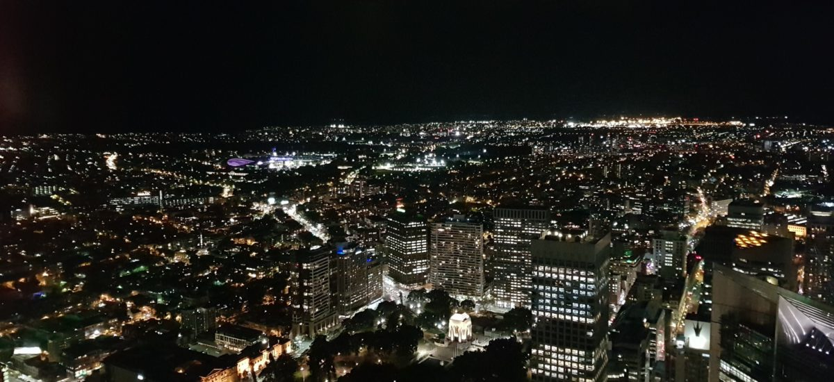 360 Bar and Dining stunning table view down to the CBD seeing Museum and St James